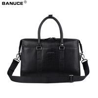 Wholesale Men s Tote Briefcase Genuine Leather Business Travel Bag Crocodile Pattern Lightweight Large Capacity quot laptop Shoulder bag BK