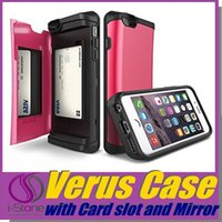 online store - Verus Slim Armor Mirror Card Slot Phone Case for iPhone Plus Galaxy S6 Cover With Stand Shockproof Hard Back Cover Online Store