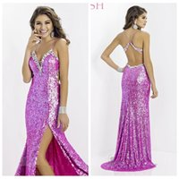 alexia prom dresses - Attractive Sequined Mermaid Prom Dresses Bling Girls Split Side Sexy Spaghetti Alexia Beaded Crystal Special Occasion Party Gowns