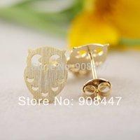 Wholesale TOP Fashion jewelry new K Gold night owl Stud earrings bird of Minerva earrings Jewelry S45