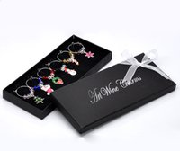 Wholesale New Year Box Wine Glass Charm Pendants Enamel Christmas Wine Glass Marker Mixed Christmas Wedding Party Decoration