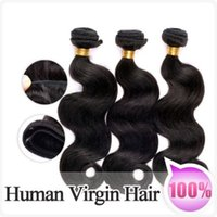 Wholesale 50 off brazilian human hair extensions body wave natural color unprocessed hair weft weaves human hair DHL