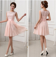 Wholesale New Vestidos de Fiesta Pink White Chiffon Short Formal Prom Gowns Back Lace Evening Dress Elegant Bridesmaid Dress Brides Maid Dress