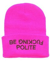 Cheap Foreign Trade Hot BE FUCKING POLITE wool knitted cap influx of men and women hip-hop cap Beanie