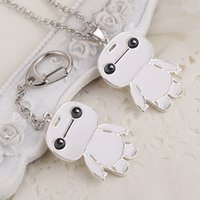 american marines - 2016 Newest Key Ring Necklaces Fashion Super Marines Baymax Spot White Fat White Doll Key Chain Pendant Alloy Drip Necklace ZJ