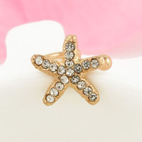 Wholesale New Style Hot Sale Ear Clips Crystal Starfish Clip On Earrings Charm Ear Cuff Earrings For Women Fashion Women Jewelry PC