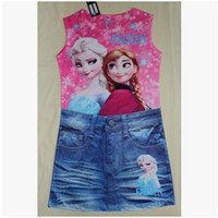 fake snow - 21 Style New Frozen Printed Dresses Girls Anna Dresses Girls Elsa Dresses Kids Snow Dresses Baby Gril Blue Dress Child Fake Denim Dresses