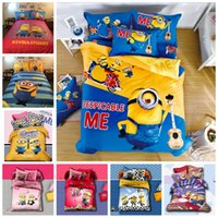 Wholesale New Arrival d Minions Printing Bedding Sets For Kids Cotton Queen King Size Bedclothes Duvet Cover Sheet For Children Bed Spreads