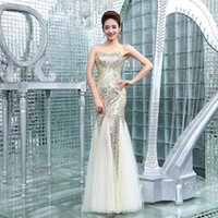 Wholesale Bridesmaids Dresses For Womens Mermaid Sexy Sequins Luxury Dresses Carpet Party Dresses Evening Backless Chiffon Couture Prom Dresses