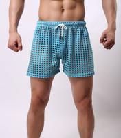 Men beach holes - Sexy Mens see through Holes net mesh gauze Sheer home causal beach board home shorts running sport gay man boardshorts
