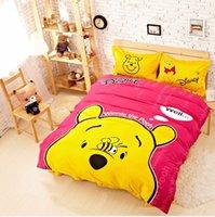 Cheap Brand New Cartoon Winnie the pooh Red Children's Bedding Set Twin Queen King Cotton Quality Duvet Quilt Cover Sheet Bedset Kids bed linen
