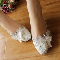 Wholesale Han edition princess diamond single crystal shoes heel wedding in round head handmade lace butterflies bride shoes