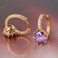 amethyst earings - Fashion amethyst stylish k yellow gold filled hoop earings purple crystal earing lady s leverback earring E006d