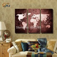 best art world - World Map Modern Oil Painting Hand Painted Modern Wall Art Painting Home Decoration Gift Best Gift JYJZ122