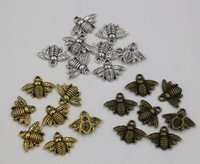Animals bronze charms - Hot Antique silver Gold Bronze Zinc Alloy Lovely Bee Charm Pendant x20mm