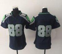 Cheap New Seahawk #88 Blue Women's American Football Jerseys Authentic Football Uniforms Cheap Sportswear Allow Mix Order