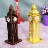 Metal architectural building models - 15 CM Europe type ancient Big Ben metal crafts souvenir building architectural models Home Office Desk Decorations supplies