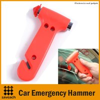 Wholesale Emergency Hammer in Car Auto Glass Breaker Seat Belt Cutting Tool Life saving Safe Escape Kit car safety accessories