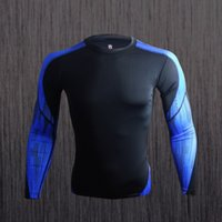 Wholesale Martial Men long sleeve RashGuard for MMA BJJ CrossFit Training shirts Compression shirts Gym Shirts