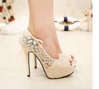 diamante shoes - Fashion Women Shoes Sexy Wedding Party Platform High Heels Lace Rhinestone Diamante Hollow Peep Toe Wedges Thigh Pumps Sandal Shoes