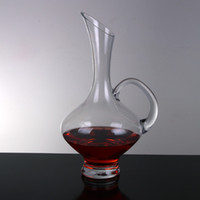 Wholesale hot sale handmade soda glass clear glass decanter with handle for wine bottle drinking