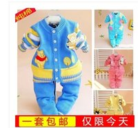 Wholesale Hot New autumn winter fashion newborn baby cotton cardigan suit baby sweater coat and pants