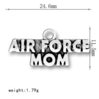 air force mom - hand made a zinc alloy antique silver plated eco friendly air force mom message charms