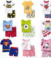 Wholesale Summer Children cartoon pyjamas Clothing Sets boys girls short sleeve t shirt pants suit baby kids pajamas set