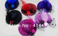 mini hat hair clip - New Fashion Feather Hair Clips Mini Top Hat Fascinator Hats With Clips Hair Accessories Headpiece Colors