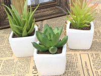 artificial cactus - Fashion Hot Decorative flower pots planters artificial plants with vase bonsai tropical cactus fake succulent plant potted on the desk