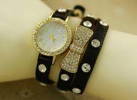 Wholesale Hot sale women ladies leather watch bowknot diamond stone long straps punk girls rivets quartz dress watches for women