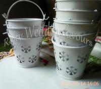 Wholesale Winter Theme Snowflake Mini Tin Pails Candy Boxes Mini Pails Favors Mini Bucket Candy boxes Tin Pails Favors