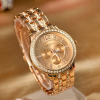 Wholesale Geneva Luxury Rose Gold Classic Round Crystal Ladies Watch PUPUG Quartz Wristwatch Men Women Watch