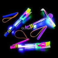 Wholesale good quality LED Light Flash Flying Elastic Powered Arrow Sling Shoot Up Helicopter helicopter umbrella kids toy DHL free DDA2787