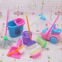 Wholesale 9Pcs set Dolls Cleaning Kit Girl House Set Home Furniture Furnishing Funny Vacuum Cleaner Mop Broom Tools