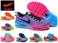 Nike Air Max 2014 Flyknit rosa / de funcionamiento negro Zapatos mujer naranja AIRMAX calzado deportivo de descuento rojo / azul maxes entrenadores atléticos zapatos