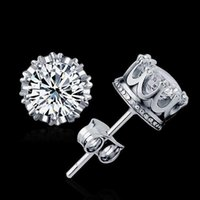 Wholesale New big Brand Design cute Sterling Silver fashion jewelry CZ Diamond crystal women lady Wedding engagement Earring