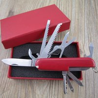 Wholesale 1pcs Red mm Knife Multifunctional Folding Army Knife Stainless Steel Outdoors Survival Pocket Knife Tool Have Gift Box