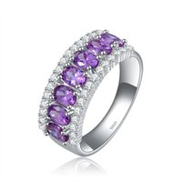 Wholesale ORSA Famous Brand Ladies Sterling Silver Amethyst Zircon Rings with Platinum Plated OR43