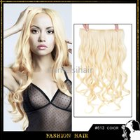 clip in curly hair extension - Fashion Cosplay Hair Clip In Synthetic Hair Blonde Color Long Curly Wavy Hair Extensions High Temperature Fiber Synthetic Curly Hair