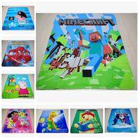 Wholesale AAAA quality styles New creative Minecraft Blanket Cartoon Kids Blankets Spiderman Princess Mcqueen cartoon blanket