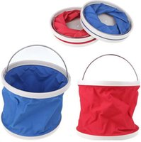 Wholesale 9L Outdoor portable Folding Fishing Camping Car Washing Hiking Water Bucket Barrel Red Blue color