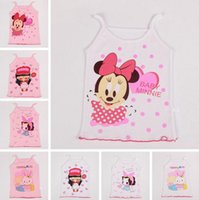 Wholesale Cheap Girls Tanks - Hot fashion Children's Tank Tops baby girl boy cartoon summer clothing vest cheap kids summer beach clothing 90-120 colorful drop shipping