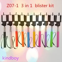 Wholesale Bluetooth Remote Shutter Phone Clip Monopod blister kit Z07 For iPhone IOS Android in kit set selfie stick