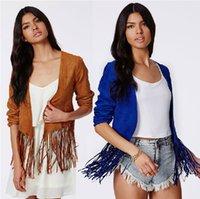 Wholesale 2014 Fall Women Trench Coat Slim Long Sleeve Tassel Leather Jackets Outwear Plus Size XS S M L XL XL Brown Blue