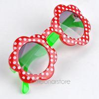 Wholesale Kids Plastic Frame Sunglasses Baby Boys Girls Dots Flower Shape Eyewear Drop shipping XHM441 S1