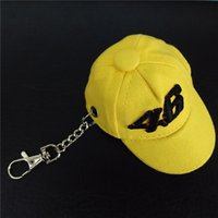 Wholesale 2016 New arrival high quality Motorcycle VR46 Valentino Rossi cap keychain cotton cap Keyring yellow color motorcross Keychain