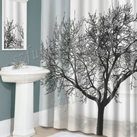 Wholesale Home Decoration Bathroom Shower Curtain Big Tree Pattern Waterproof Moldproof Polyester Fabric Curtain with Hooks AIA00541