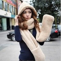 Wholesale New Winter Brand Fashion Fur Hats For Women Hat Scarf Gloves Triad Hat And Scarf Set For Women Black White