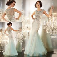 Wholesale Designer Celebrity Evening Dresses Crystals Beaded Mermaid Long Formal Prom Dresses Sexy Sheer Open Back Dresses Party Evening Gowns